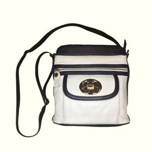 Emma Fox Pebbled Leather Crossbody White Black